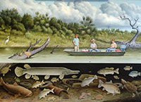 "Fish Story II: Nueces River / Oil on Canvas / 42"" x 60"""